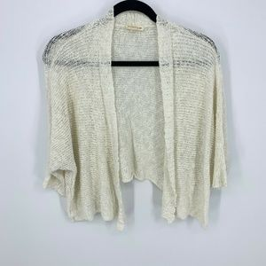 Eileen Fisher Open Front Cropped Cardigan Sweater